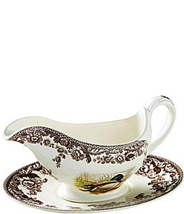 Image of Spode Festive Fall Collection Woodland Sauce Boat & Stand