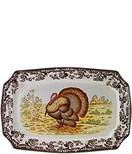 Image of Spode Festive Fall Collection Woodland Turkey Rectangular Platter