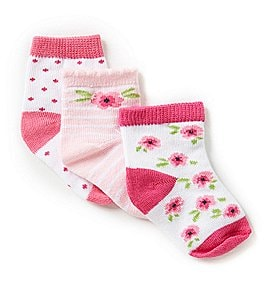 Image of Starting Out 3-Pack Floral Crew Socks