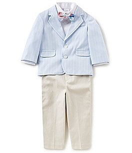 Image of Starting Out Baby Boys 12-24 Months Blazer Jacket, Button-Front Shirt, Bow Tie & Pants 4-Piece Set