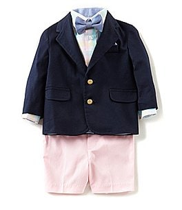 Image of Starting Out Baby Boys 12-24 Months Blazer Jacket, Button-Front Shirt, Bow Tie, & Shorts 4-Piece Set