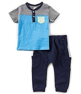 Image of Starting Out Baby Boys 12-24 Months Colorblock Henley Tee & Pants Set