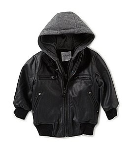 Image of Starting Out Baby Boys 12-24 Months Hooded Faux Leather Bomber Jacket