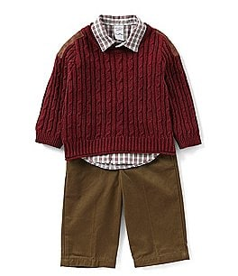 Image of Starting Out Baby Boys 12-24 Months Pullover Sweater, Button-Down Shirt, & Pants 3-Piece Set