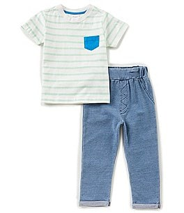 Image of Starting Out Baby Boys 12-24 Months Striped Pocket Tee & Pants Set
