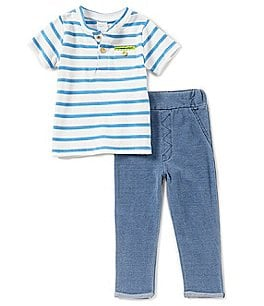 Image of Starting Out Baby Boys 12-24 Months Striped Short-Sleeve Top & Pants Set