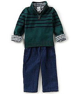 Image of Starting Out Baby Boys 12-24 Months Striped Sweater, Shirt, & Pants 3-Piece Set