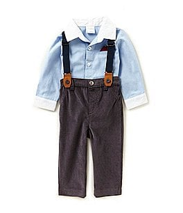 Image of Starting Out Baby Boys 3-24 Months Button-Down Shirt, Pants, & Suspenders 3-Piece Set