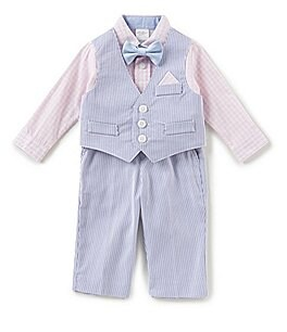 Image of Starting Out Baby Boys 3-24 Months Button-Down Shirt, Pincord Striped Vest, & Pants 3-Piece Set