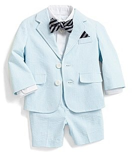 Image of Starting Out Baby Boys 3-24 Months Seersucker Button-Down Shirt, Jacket, Shorts & Bow Tie Set