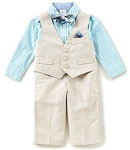 Image of Starting Out Baby Boys 3-24 Months Checked Button-Down Shirt, Vest, & Pants 3-Piece Set