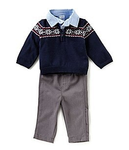 Image of Starting Out Baby Boys 3-24 Months Fair-Isle Sweater, Button-Down Shirt, & Pants 3-Piece Set