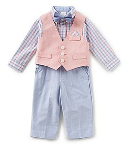 Image of Starting Out Baby Boys 3-24 Months Plaid Button-Down Shirt, Vest, & Pants 3-Piece Set