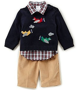 Image of Starting Out Baby Boys 3-24 Months Plane Sweater, Button-Down Shirt, & Pants 3-Piece Set