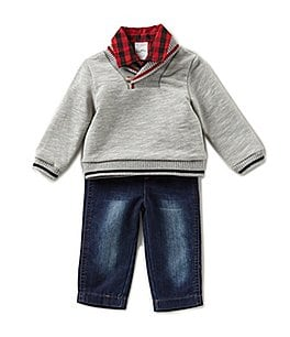 Image of Starting Out Baby Boys 3-24 Months Sweater, Checked Button-Down Shirt, & Pants 3-Piece Set