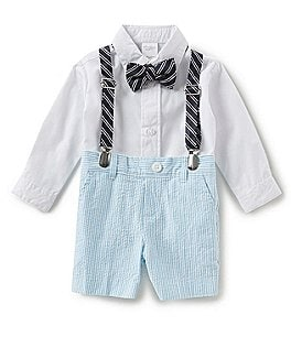 Image of Starting Out Baby Boys 3-9 Months Button-Down Shirt, Seersucker Shorts, Suspenders & Bow-Tie Set