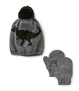 Image of Starting Out Baby Boys Dinosaur Beanie Hat & Mittens Set