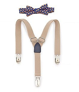 Image of Starting Out Baby Boys Fox-Print Bow Tie & Suspenders Set