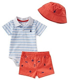 Image of Starting Out Baby Boys Newborn - 3 Months Sailboat Polo and Short Set