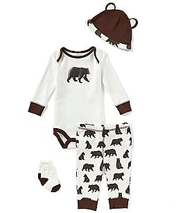 Image of Starting Out Baby Boys Newborn-9 Months Bear-Print 4-Piece Layette Set