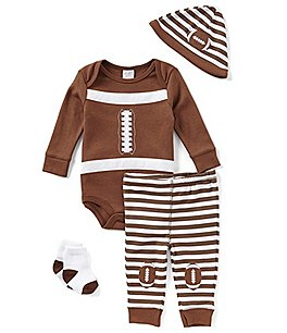 Image of Starting Out Baby Boys Newborn-9 Months Striped Football-Applique 4-Piece Layette Set