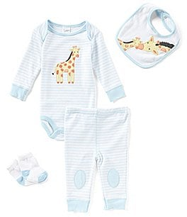 Image of Starting Out Baby Boys Newborn-9 Months Striped Giraffe-Applique 4-Piece Layette Set