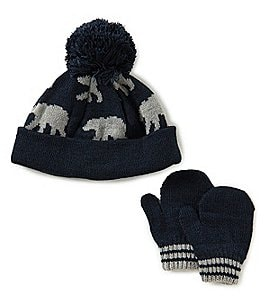 Image of Starting Out Baby Boys Polar-Bear Knit Hat & Mittens Set
