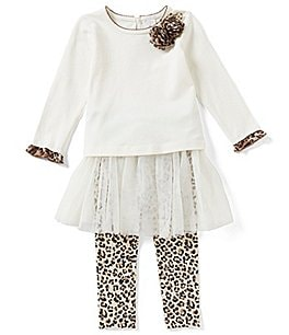 Image of Starting Out Baby Girl 3-9M Leopard Print Top & Tutu Overlay Pant Set