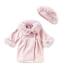 Image of Starting Out Baby Girls 3-24 Months Faux-Fur Trim Coat & Matching Hat Set