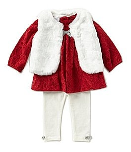 Image of Starting Out Baby Girls 3-24 Months Long-Sleeve Top, Faux-Fur Vest, & Leggings 3-Piece Set