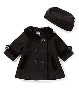 Image of Starting Out Baby Girls 3-24 Months Peacoat Jacket & Matching Hat Set