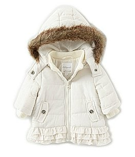 Image of Starting Out Baby Girls 3-24 Months Removable-Hood Ruffle Puffer Coat