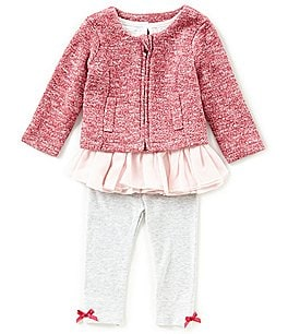 Image of Starting Out Baby Girls 3-24 Months Zip-Front Sweater, Ruffle Top, & Leggings 3-Piece Set