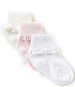 Image of Starting Out Baby Girls 3-Pack Crochet Lace Socks