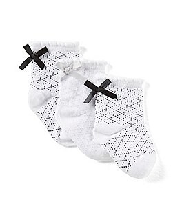 Image of Starting Out Baby Girls 3-Pack Satin-Bow Socks
