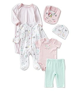 Image of Starting Out Baby Girls Unicorn 6-Pack Layette Set