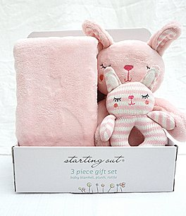 Image of Starting Out Baby Girls Blanket, Rattle, & Plush Bunny 3-Piece Set