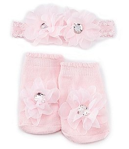 Image of Starting Out Baby Girls Bootie Shoes & Flower Headwrap Set