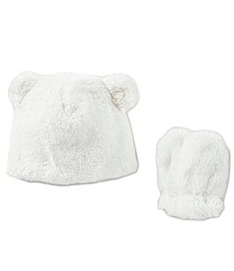 Image of Starting Out Baby Girls Fleece/Sherpa Bear Hat & Mittens Set