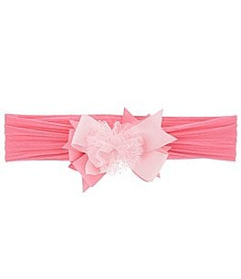 Image of Starting Out Baby Girls Grosgrain Sparkle Dot Bow Mesh Headwrap