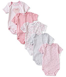 Image of Starting Out Baby Girls Newborn-6 Months 5-Pack Heart Bodysuits