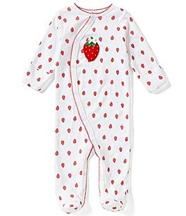 Image of Starting Out Baby Girls Newborn-6 Months Strawberry Footed Coverall