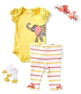 Image of Starting Out Baby Girls Newborn-9 Months Dotted Elephant 4-Piece Layette Set