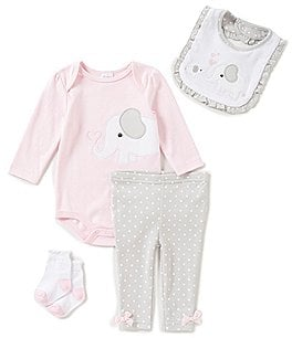 Image of Starting Out Baby Girls Newborn-9 Months Dotted Elephant-Applique 4-Piece Layette Set