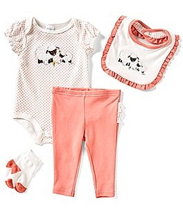 Image of Starting Out Baby Girls Newborn-9 Months Dotted Lamb 4-Piece Layette Set
