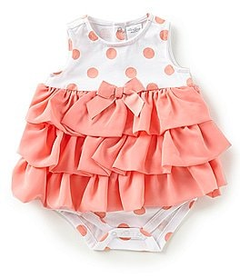 Image of Starting Out Baby Girls Newborn-9 Months Dotted Tiered-Ruffle Bodysuit