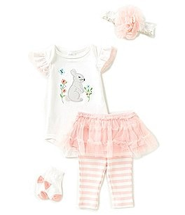 Image of Starting Out Baby Girls Newborn-9 Months Floral Bunny Tutu 4-Piece Layette Set