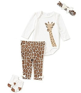 Image of Starting Out Baby Girls Newborn-9 Months Giraffe-Applique 4-Piece Layette Set