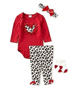 Image of Starting Out Baby Girls Newborn-9 Months Heart-Applique Animal-Print 4-Piece Layette Set