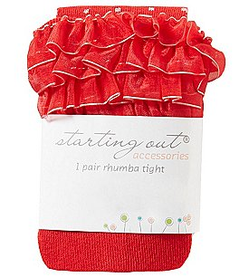Image of Starting Out Baby Girls Ruffled Dot Tights